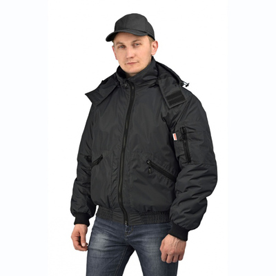 "Куртка мужская ""Бомбер""  тк. Джордан чёрная (с капюшоном)"